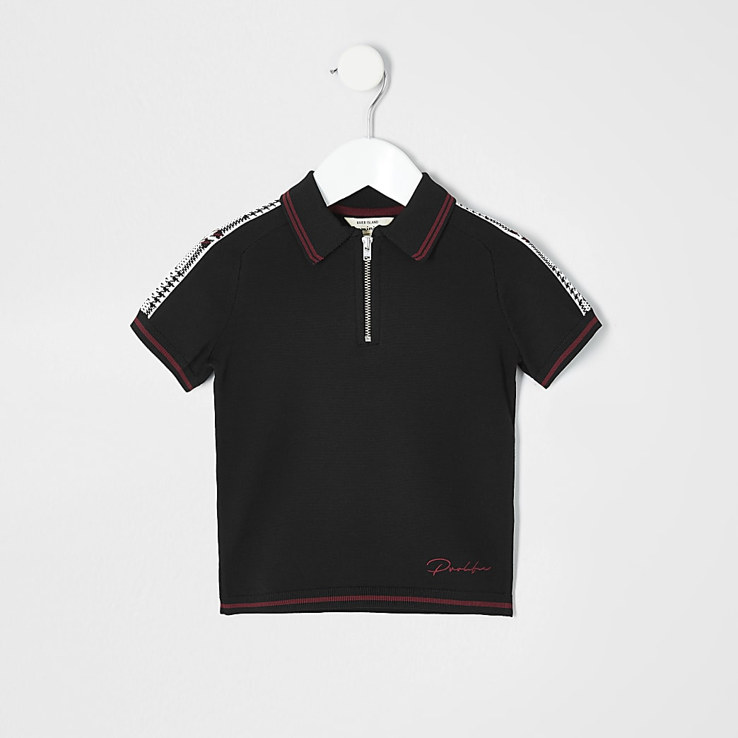Mini boys black zip polo shirt