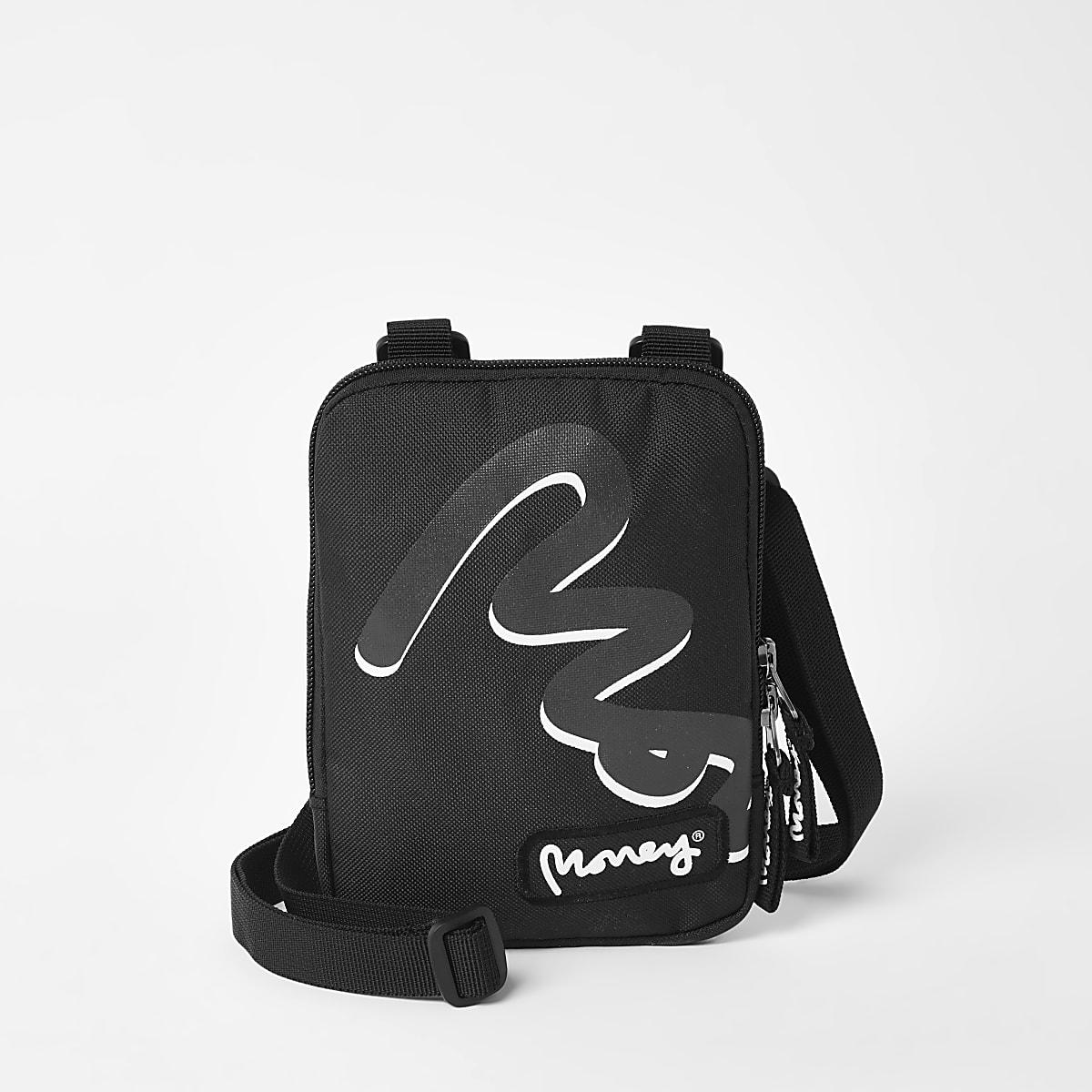 Boys black Money cross body travel bag