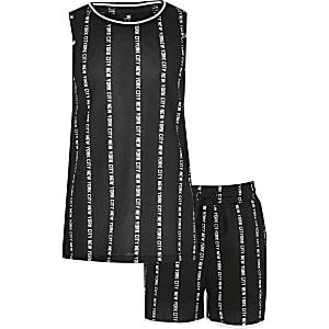 Outfit met zwart hemdje met New York City-print voor jongens