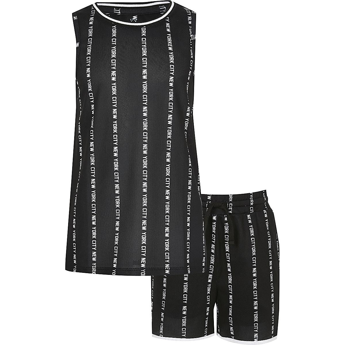 Boys black 'New York city' print tank outfit