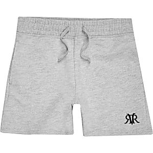 Grijze jersey short met RI-logo voor jongens