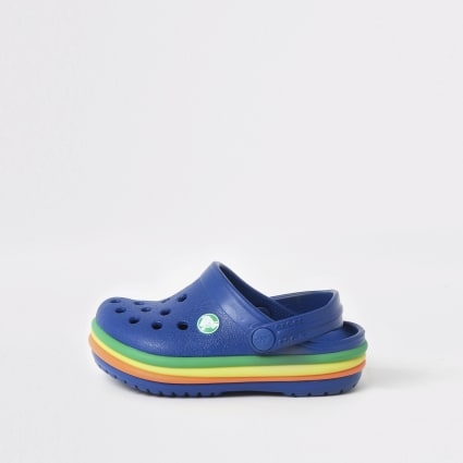 Mini boys Crocs navy rainbow clogs