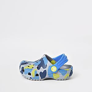 Mini - Crocs klompen in grijs met camouflageprint voor jongens