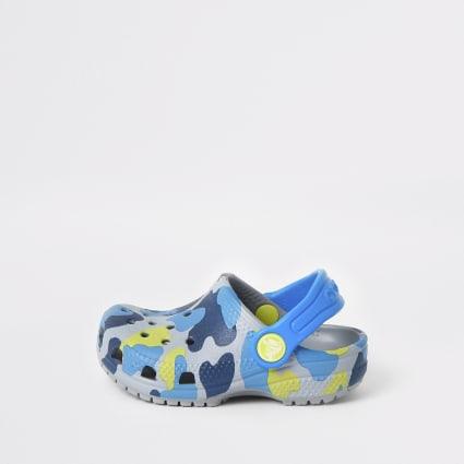 Mini boys Crocs grey camo clogs