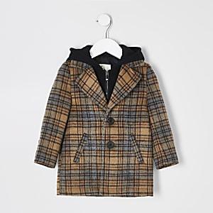 Mini – Brauner Mantel mit Karomuster und Kapuze für Jungen