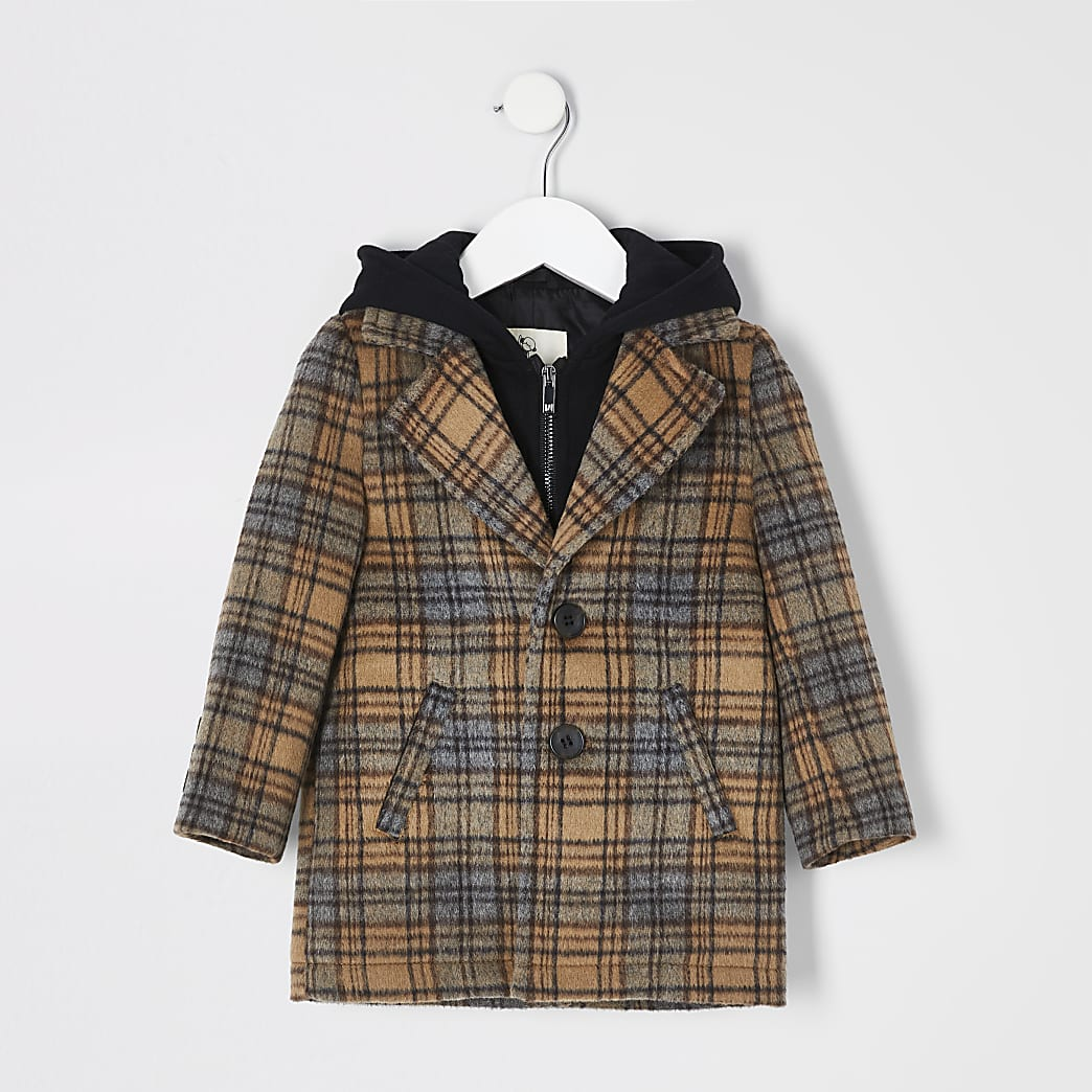 Mini boys brown check peabody hooded coat