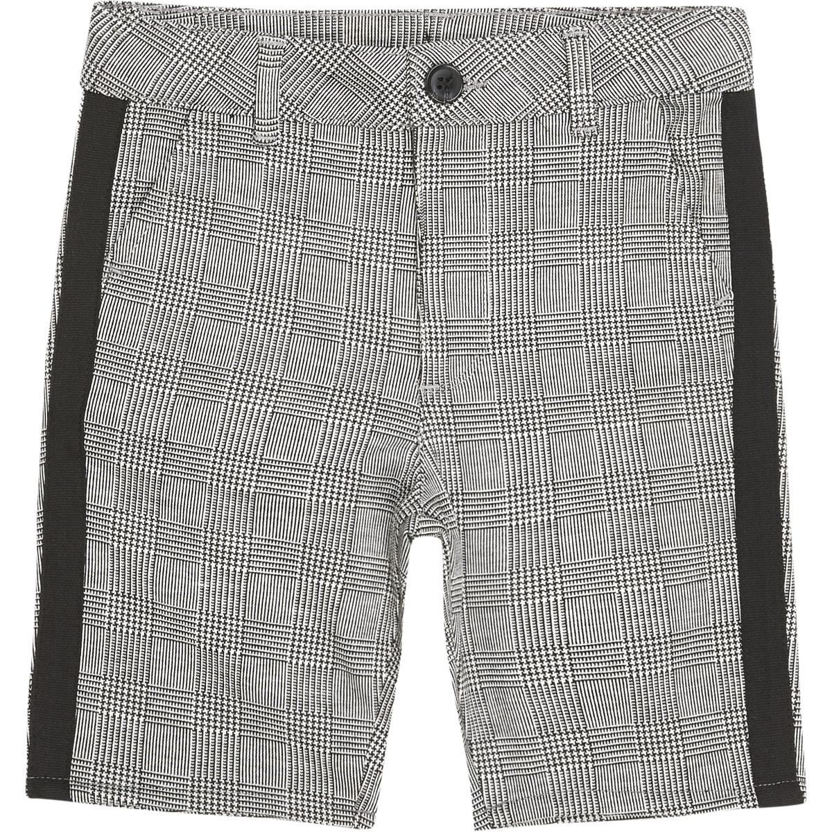 Boys grey check tape shorts