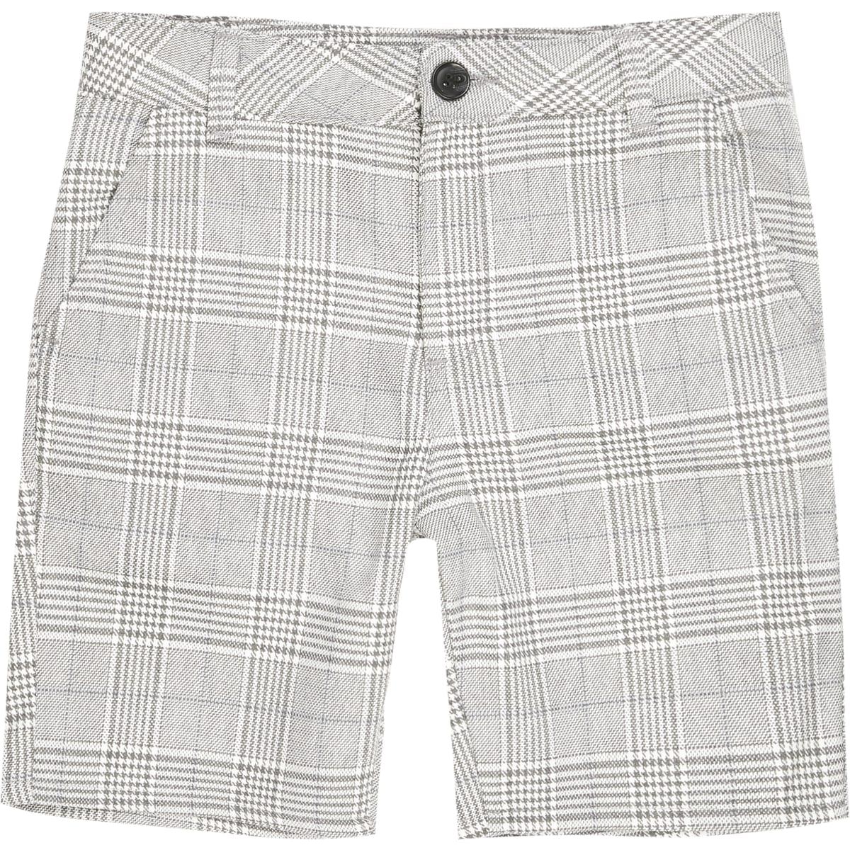 Boys light grey and blue check shorts
