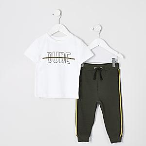 Mini - Outfit met wit T-shirt met 'Dude'-print voor jongens