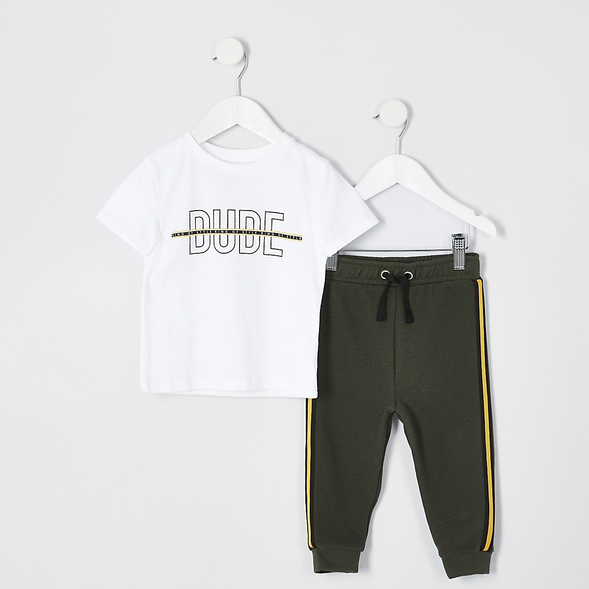 Mini boys white 'Dude' print T-shirt outfit