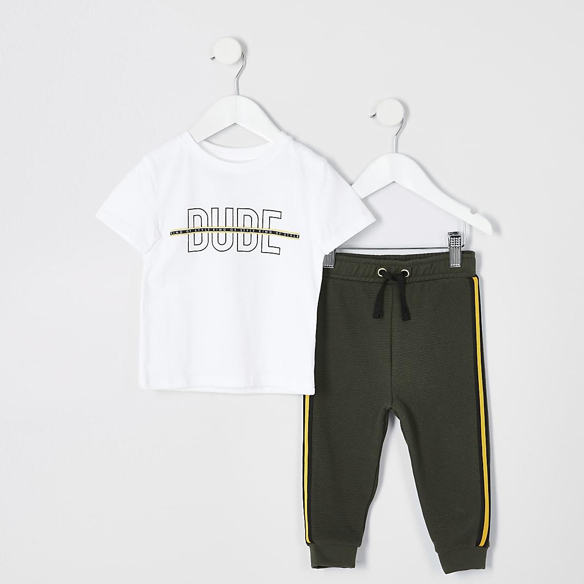 Mini boys white 'Dude' print T-shirt outfit