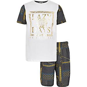 Witte pyjama-set met barokke Lazy days-print voor jongens
