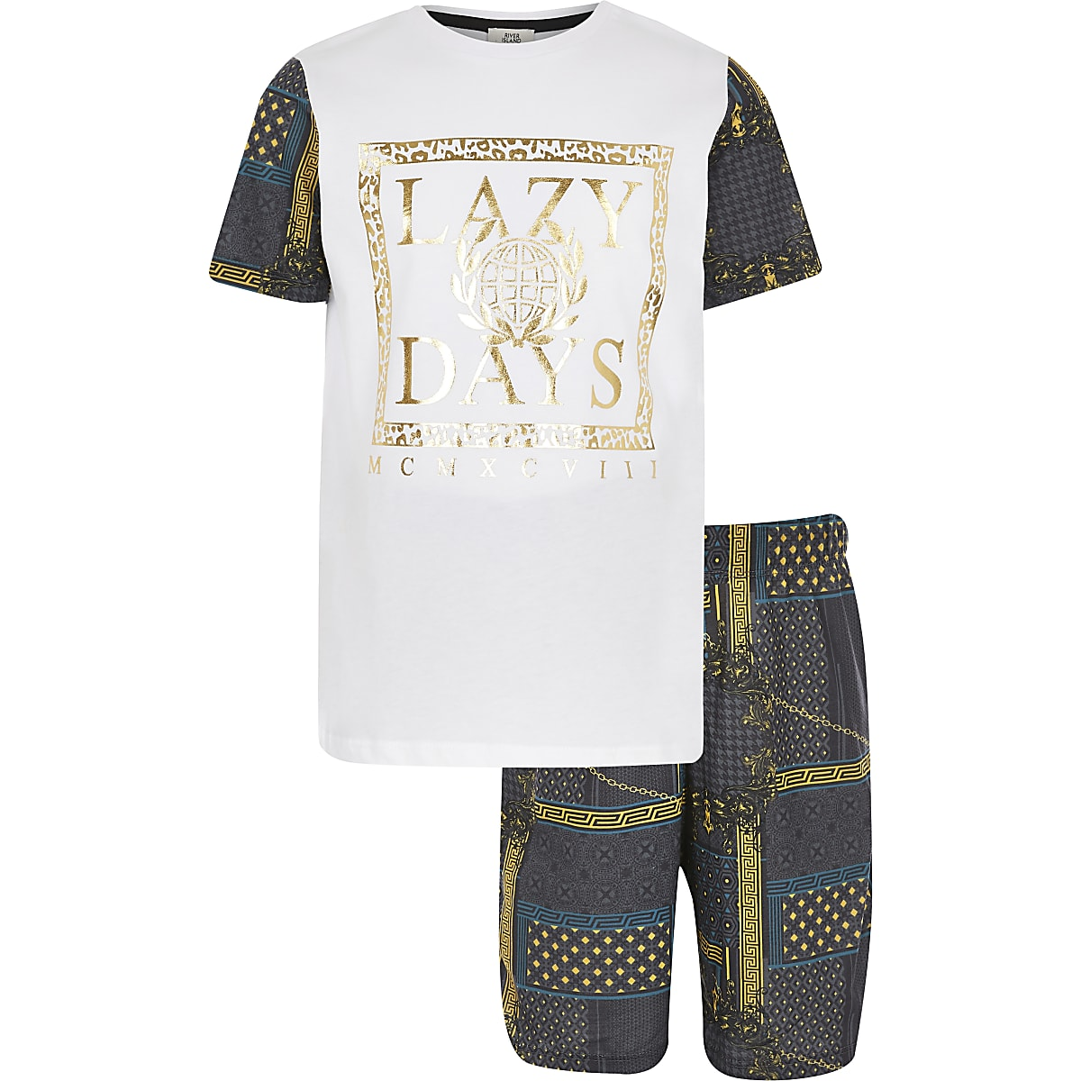 b310c3a9f14 Boys white 'Lazy Days' baroque pyjama set