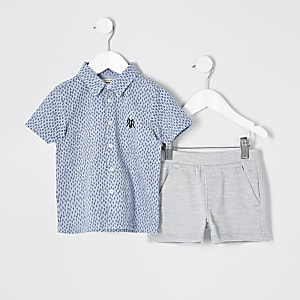 Mini boys blue printed polo shirt outfit