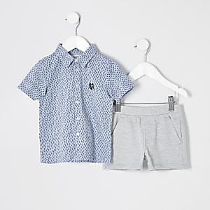 Mini boys blue printed polo shirt outfit