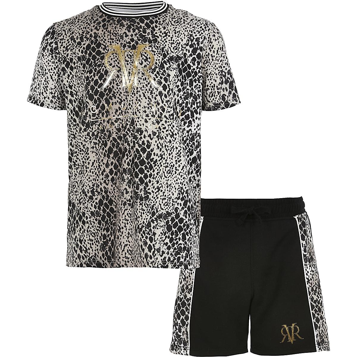 Outfit met bruin T-shirt met slangenprint voor jongens