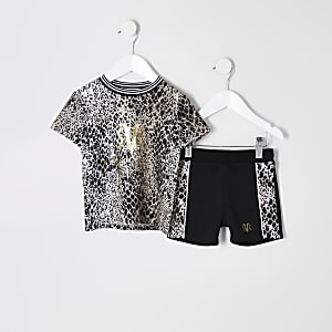 Mini boys brown snake print T-shirt outfit