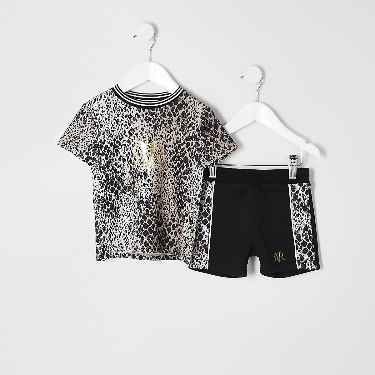 cf2365488e9 ... Mini - Outfit met bruin T-shirt met slangenprint voor jongens ...