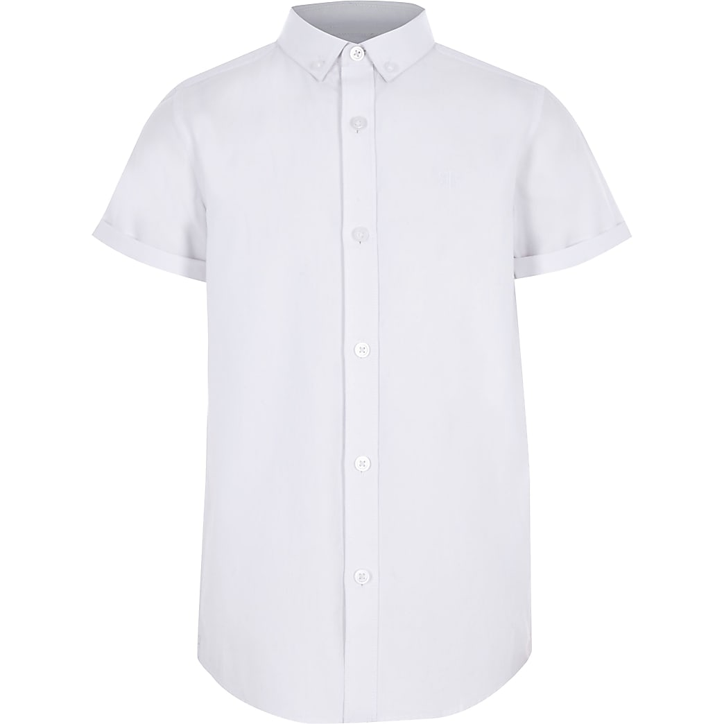 Boys white twill short sleeve shirt
