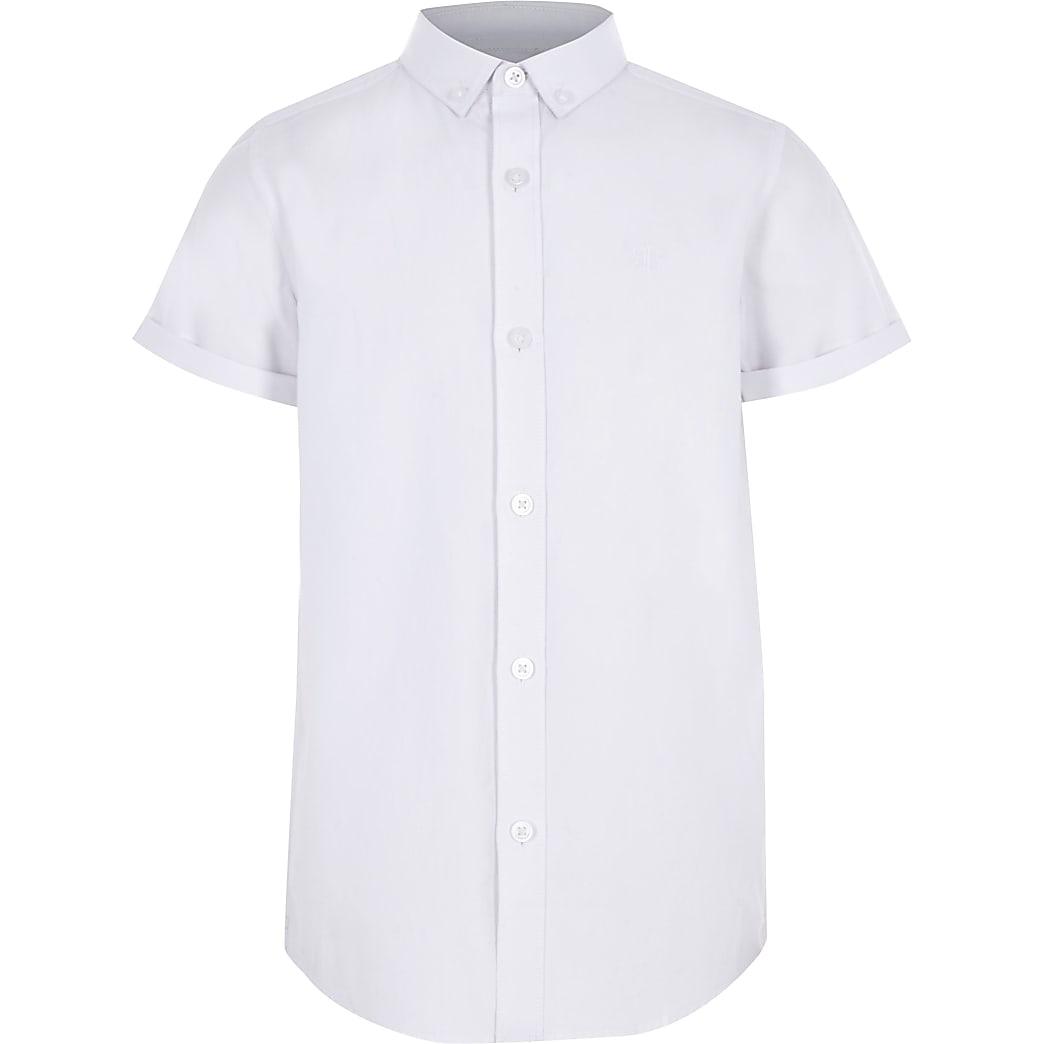 Wit overhemd van keperstof met korte mouwen voor jongens