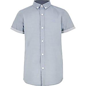 Blauw overhemd van keperstof voor jongens