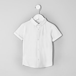 Mini boys white twill short sleeve shirt