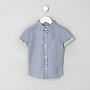 Mini - Blauw overhemd van keperstof voor jongens