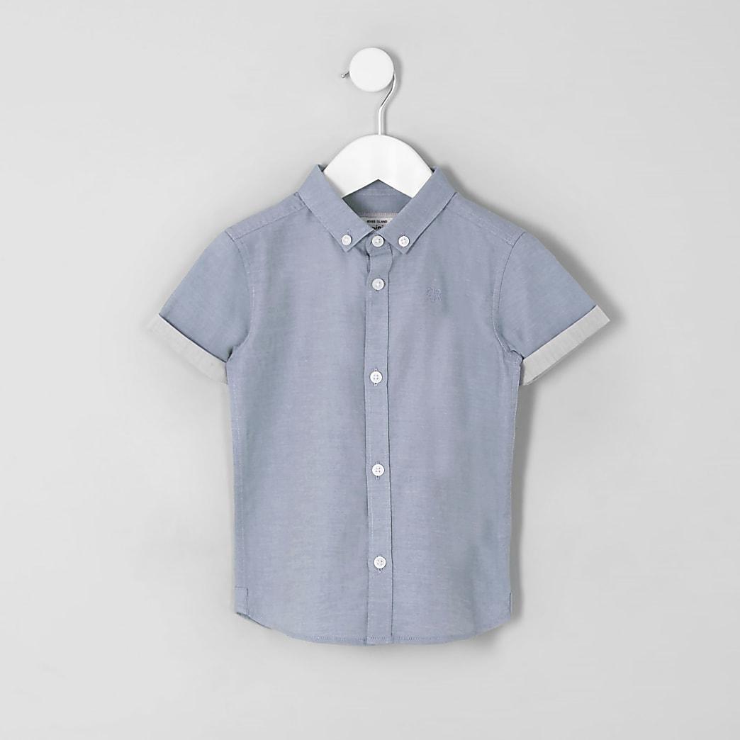 Mini boys blue twill shirt