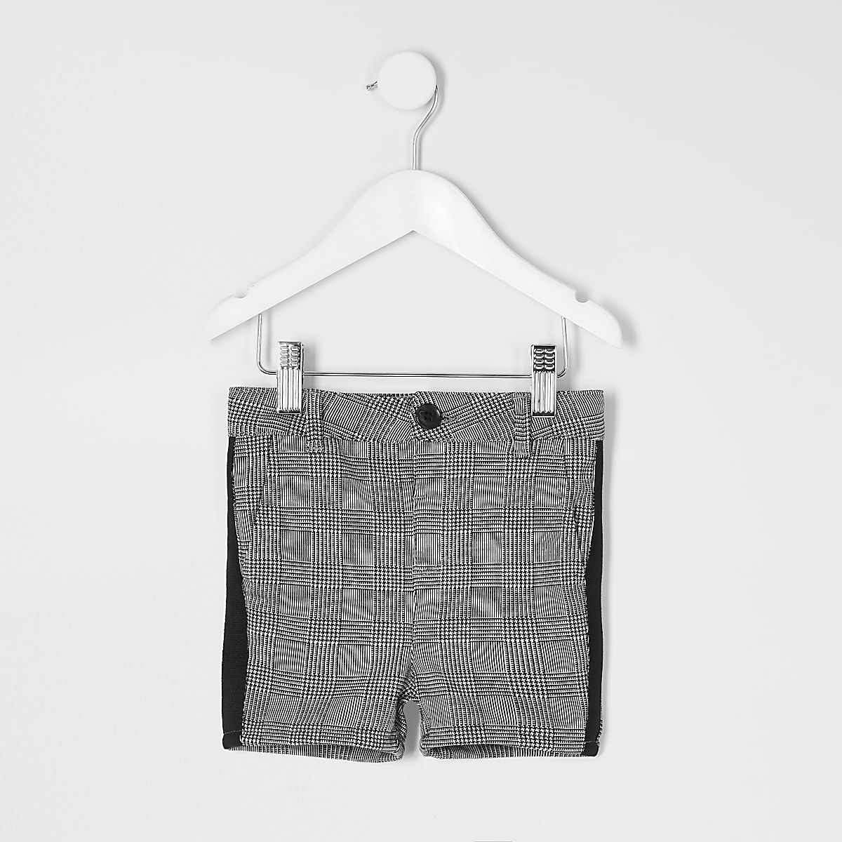 Mini boys grey check tape shorts