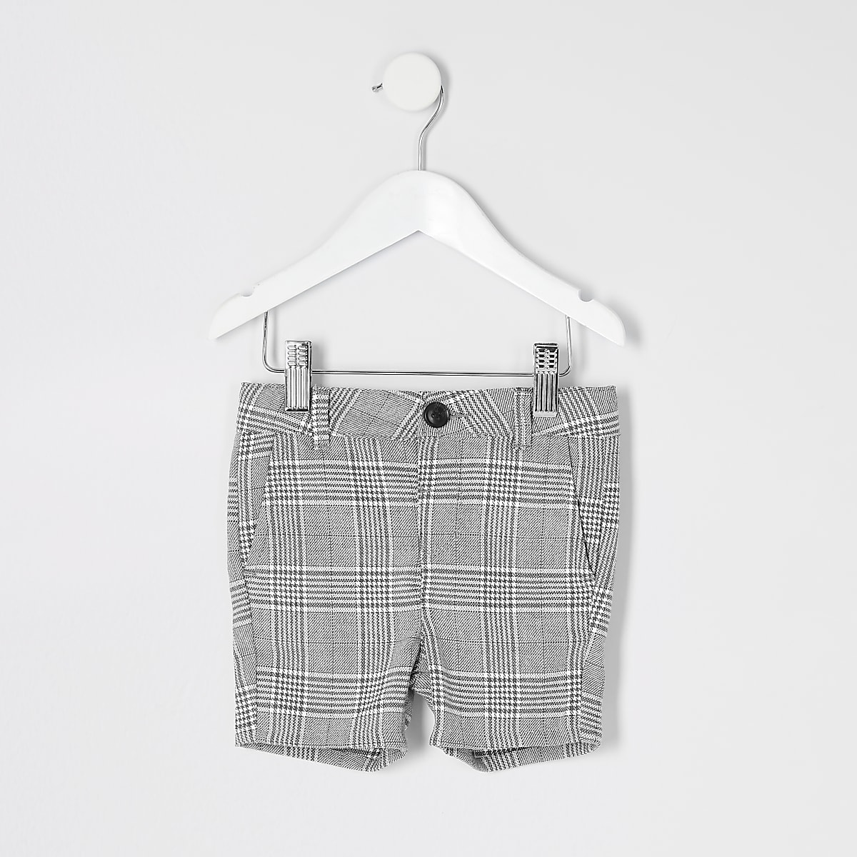 Mini boys light grey and blue check shorts