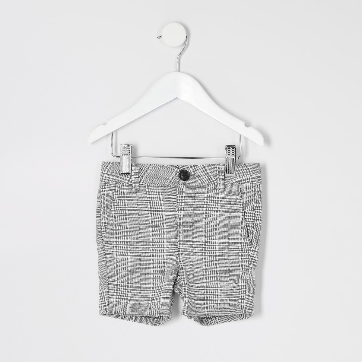 Mini boys light grey and blue check shorts
