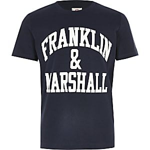Franklin & Marshall – Marineblaues T-Shirt mit Logo