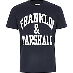 Franklin & Marshall - Marineblauw T-shirt met logo voor jongens