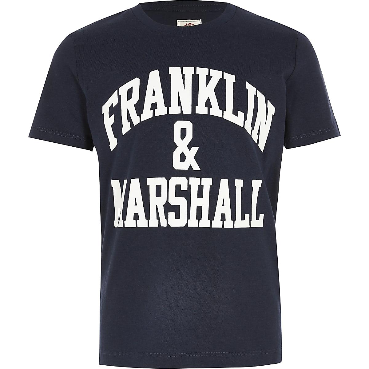 Boys Franklin & Marshall navy logo T-shirt