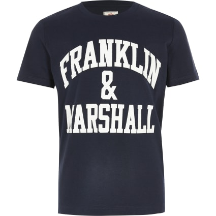 Boys Franklin & Marshall navy logo T-shirt