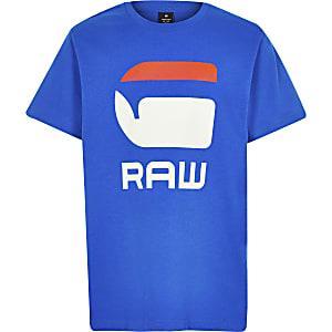 G-star – Blaues, ungesäumtes T-Shirt