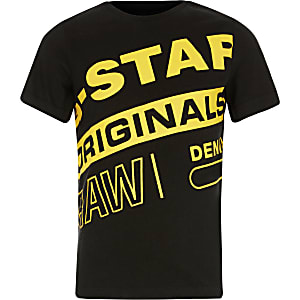 Boys G-Star Raw black branded print T-shirt