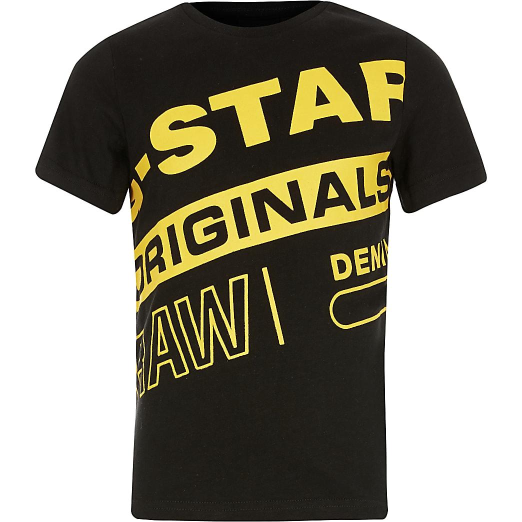 Boys G-Star Raw black branded print T-shirt