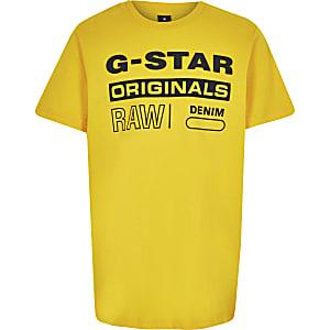 G-star Originals - Geel T-shirt met logoprint voor jongens