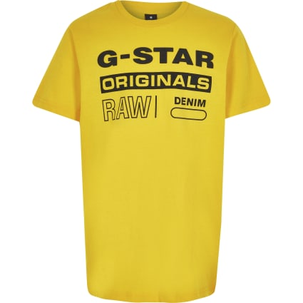 Boys G-star Originals yellow logo T-shirt