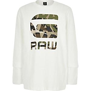 G-star Raw - T-shirt met camouflageprint, logo en lange mouwen