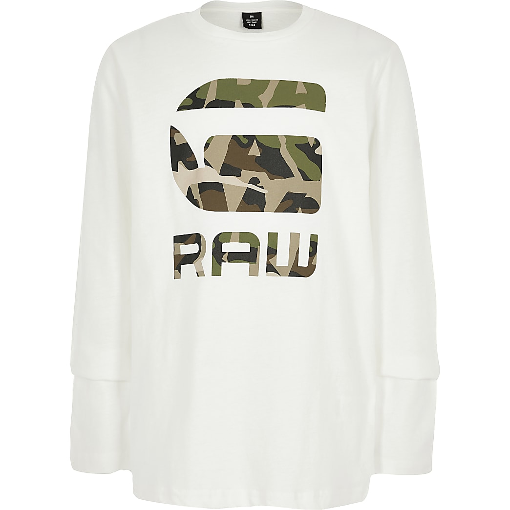 G-star – Raw – T-shirt camouflage à logo et manches longues garçon