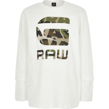 Boys G-star Raw camo logo long sleeve T-shirt