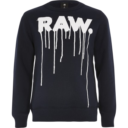 Boys G-Star Raw navy drip print sweatshirt