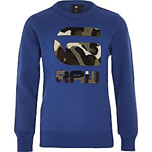 G-Star Raw – Blaues Sweatshirt mit Camouflage-Muster