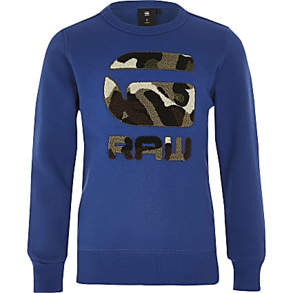 Boys G-Star Raw blue camo print sweatshirt