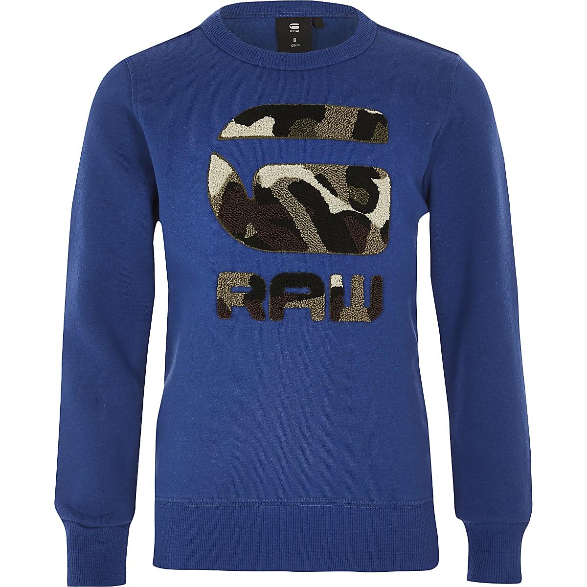 Boys G-Star Raw blue camo print sweatshirt