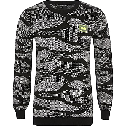 Boys black camo print RI jumper