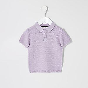 Polo en maille violet mini garçon