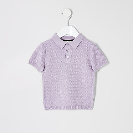 Mini boys purple knitted polo shirt